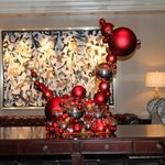 Festive decorations in the lobby.