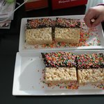 An afternoon treat- chocolate covered rice crispy treats.