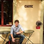 Caffe Centro owner Tom Buswell & Chopper