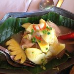 Braised lake fish with palm sugar and pineapple
