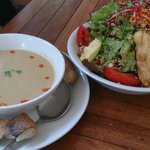 Pumpkin Soup and Mega Organic Salad - Good for two hungry people!