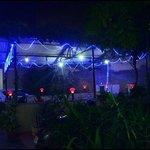 Garden restaurant at night
