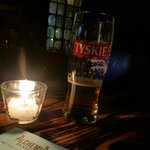 My beer and I by candlelight... so romantic!