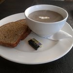 Homemade Mushroom Soup with Rye bread made on the premises
