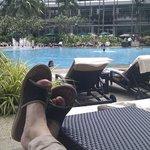 Working hard near the pool ;-)