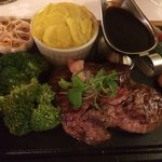 Sizzling steak with Madeira sauce