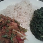 Vegetable and spinach and paneer dishes