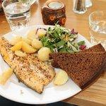 Arctic Char with Geysir bread, salad & potatoes