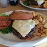 My medium well Green Chile Cheeseburger