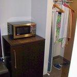 refrig, microwave, closet