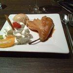 dessert poire pochée au caramel de beurre salé