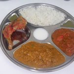 fish and chicken thali