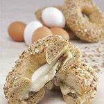 Turkey Sausage, Egg White, Montemore Cheese on Whole GRain Bagel