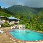 Rainbow over restaurant and upper pool