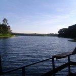 Vista do Rio Tietê junto ao pesqueiro flutuante