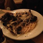 Mussels on a bed of crusty hard pasta