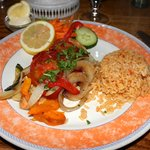 salmon with grilled veggies/rice