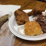 Cajun platter- fried chicken, rice & beans, biscuit and boudin (sausage)