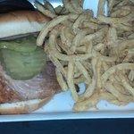 Saw's: Pork Sandwich & Onion Rings