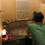 Preparation for flower bath in the room