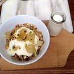 Toasted muesli with vanilla poached pears, honey yogurt + pistachio - jak + hill