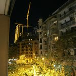 View fom balcony towards La Sagrada Familia at night