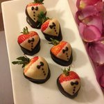 Decorated chocolate strawberries a gift from family in our room upon arrival