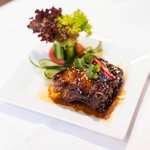 Mouthwatering starter. Spareribs in a honey sour sauce