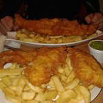 fish bites and chips, haddock and chips with mushy peas