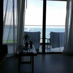 The view from the bed (deluxe Seaview)