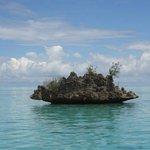rocher en forme de Benitier dans lagon entre morne et rivière noire