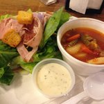 Hearty soup and salad