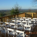 Deck with 35 mile view over parkway set up for wedding