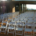 Deck with 35 miles view over Parkway set up for wedding