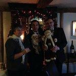 Jane Raff & Donald Plus hound and Santa Claus