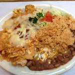 Chilaquilles with rice and beans.