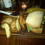Steak burger with rosemary wedges and beetroot chutney. AMAZING!
