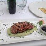 seared tuna with wasabi mash