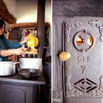 cooking on wooden stove