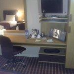 Bedroom TV, stereo, desk