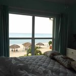 Ocean view bedroom with queen bed