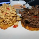 Tostones with Beef and Chicken