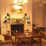 The lounge decorated for Christmas.