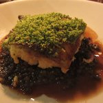 Herb-crusted cod with puy lentils