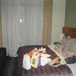 Huge bed, and door to balcony
