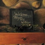 Our welcome sign in our room