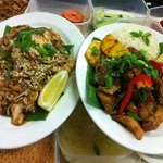 Pad Thai Chicken and Sweet Chilli Fish and rice