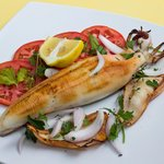 Grilled, Feta cheese stuffed squid
