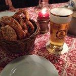 ビールとソフトプリュツェル