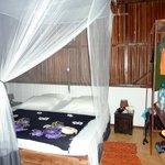 chambre avec lit moustiquaire.